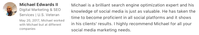 michael edwards testimonial